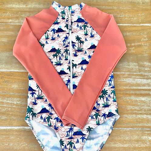 Blueys Girls Long Sleeve Swimsuit in Leilani