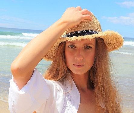 Shy Skin Fringed raffia beach hat