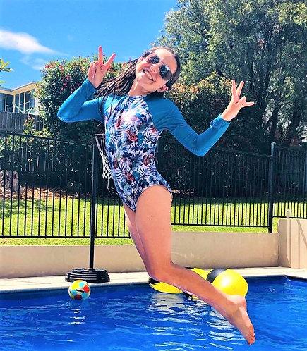 Blueys Girls UPF50+ Long Sleeve Swimsuit in Tropical