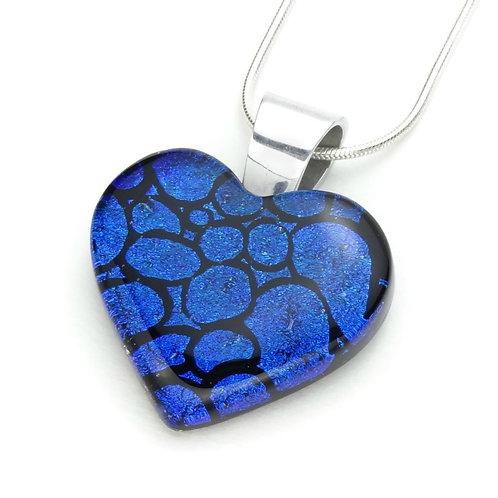 Corazón Azul - Colgante en Vidrio Dicroico