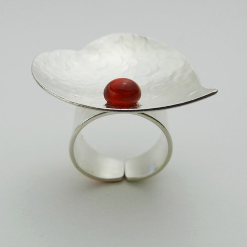 Anillo Hoja Perla de Vidrio Baño de Plata