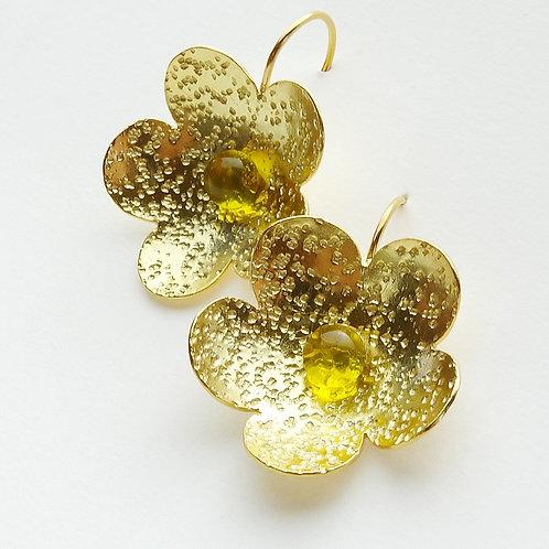 Pendientes Flor Baño de Oro 24KT