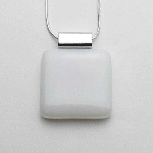 Colgante En Vidrio Blanco Opal Cuadrado