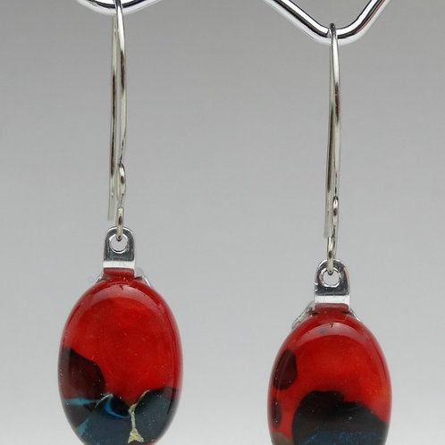 Pendientes Ovalados en Vidrio - Bicolor
