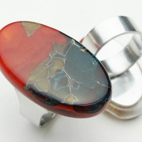 Anillo Ovalado Bicolor en Vidrio