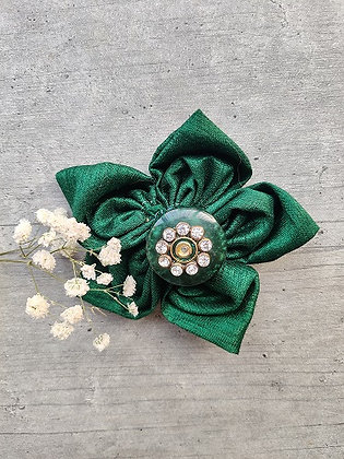 Pine Green Festive-Flower Bow with a Diamond-Studded Marble Button