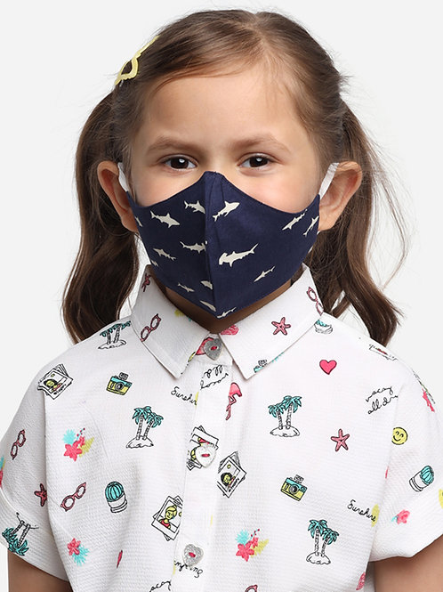 Kids Navy Shark 2-Ply Reusable Cloth Mask