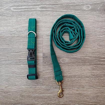 Pine Green Collar & Leash Set
