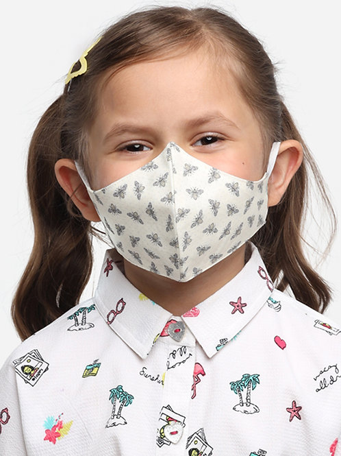 Kids White Butterfly  2-Ply Reusable Cloth Mask