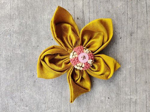 Tuscan Sun Festive-Flower Bow with an Ivory and Rose Button