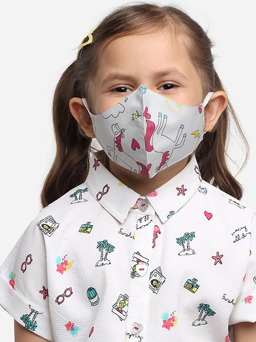 Kids White Unicorn 2-Ply Reusable Cloth Mask