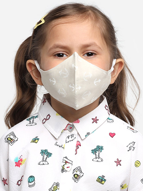 Kids Beige Anchor 2-Ply Reusable Cloth Mask