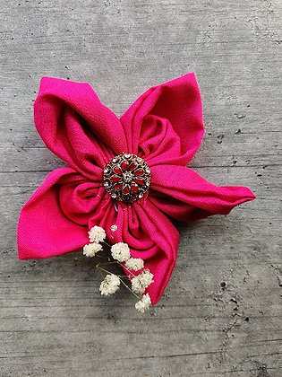 Fuchsia Punch Festive-Flower Bow with Diamond-Studded Gold Button
