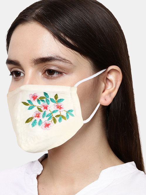 Cream-Colored Floral Embroidered Single 2-Ply Cloth Mask