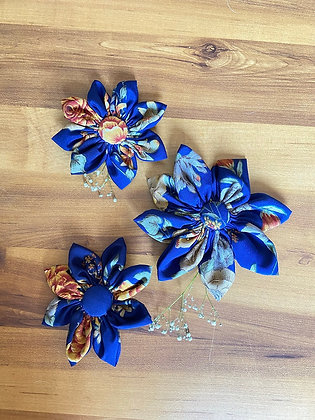 Navy Blue Floral Printed Flower Bow