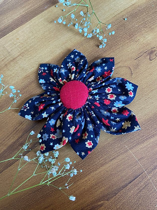 Black Printed Flower Bow with a Bright Red Button