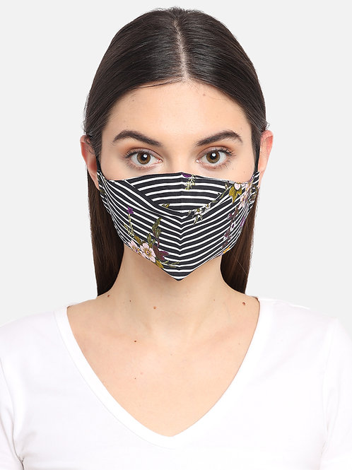 Adult Black and White Floral 2 Ply Reusable Mask