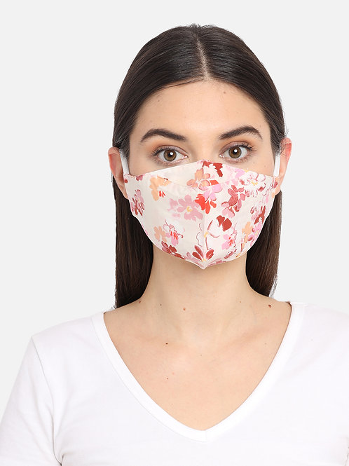 Adult Pearl White Floral 2 Ply Reusable Masks