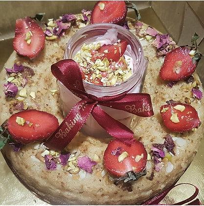Wholewheat Rose Pistachio Cake With Rose Yogurt