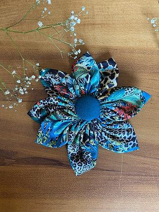 Cyan Blue Flower Bow with Cheetah Prints