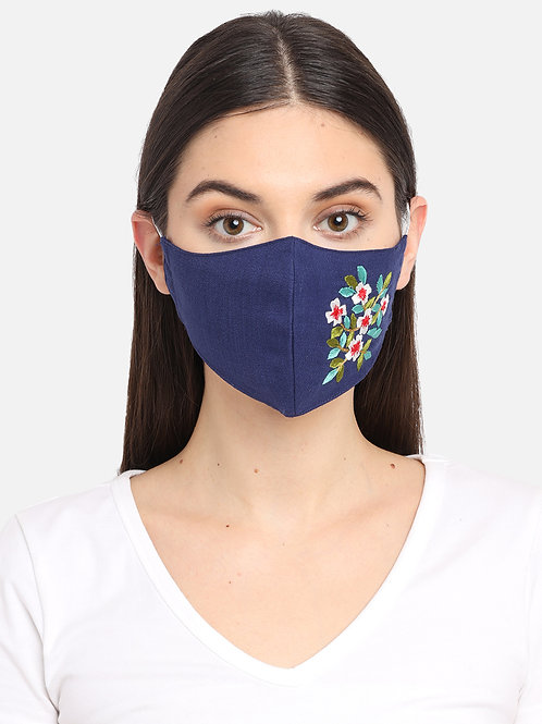Navy-Coloured Floral Embroidered Single 2-Ply Cloth Mask