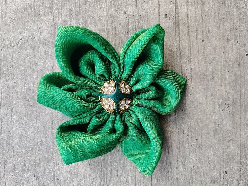 Emerald Green Festive-Flower Bow with Diamond-Embellished Button