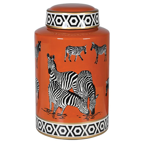 Zebra design ginger jar