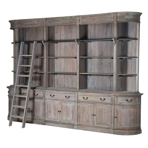 Pine 8 door bookcase with ladder
