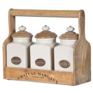 Set 3 ceramic jars with carrier