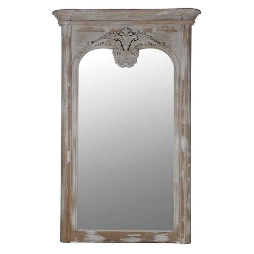 Whitewashed Acanthus leaf antiqued mirror