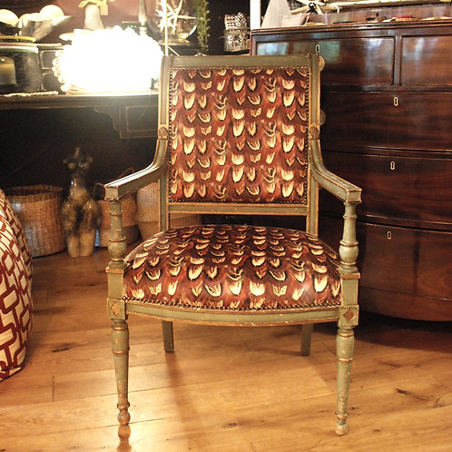 French painted salon chair