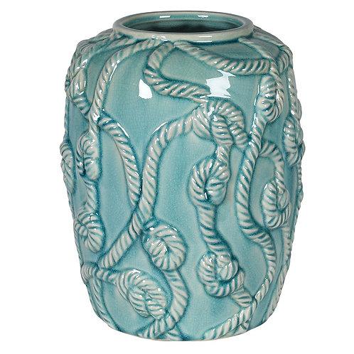 Turquoise ceramic rope vase
