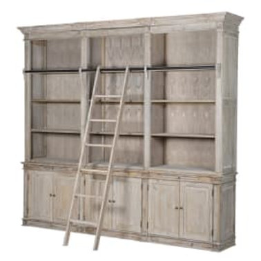 Triple bookcase with ladder