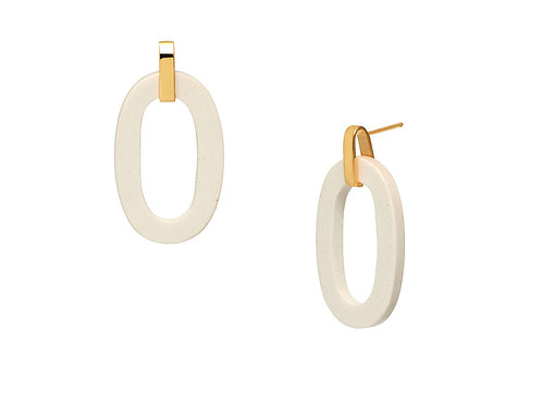 Branch Jewellery White wood flat oval earring gold plated