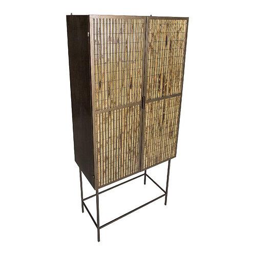 Metal 2 door bamboo brass cabinet