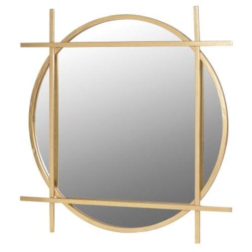Gold round framed mirror