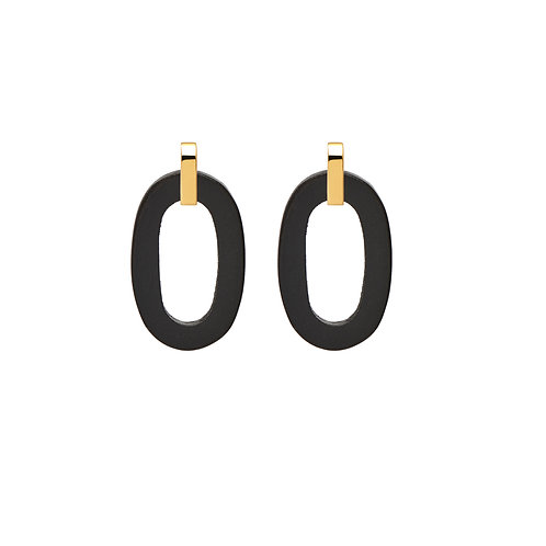 Branch Jewellery Black wood flat oval earrings gold plated