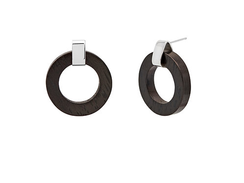 Branch Jewellery Black wood ring earrings silver