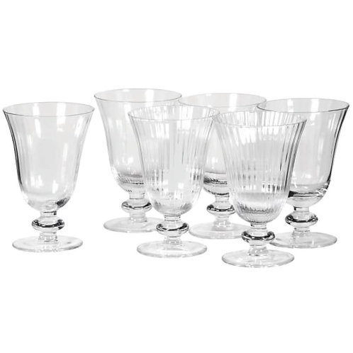 Set of six ribbed wineglasses