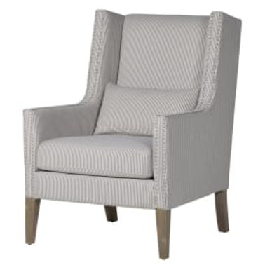 Striped silver studded club chair