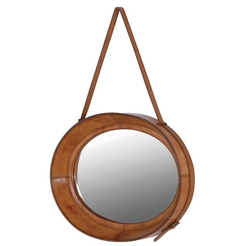 Leather oval hanging mirror