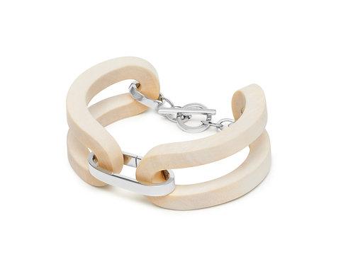 Branch Jewellery White wood open link bracelet silver