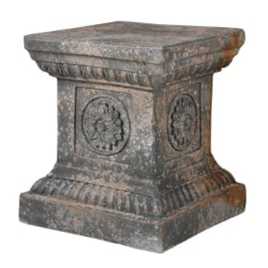 Distressed square pedestal with flower motif