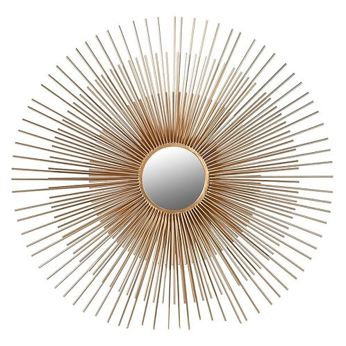 Large 3D sunburst round mirror