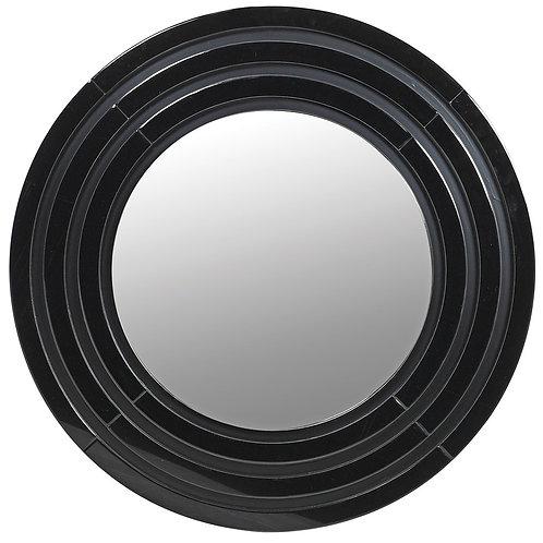 Black glass circular mirror