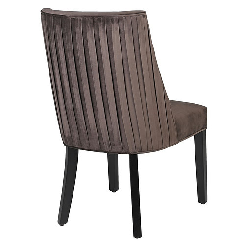 Mocca pleated dining chair back view