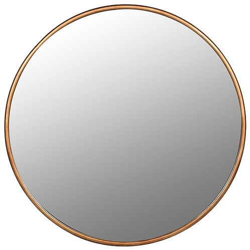 Large round gold frame mirror