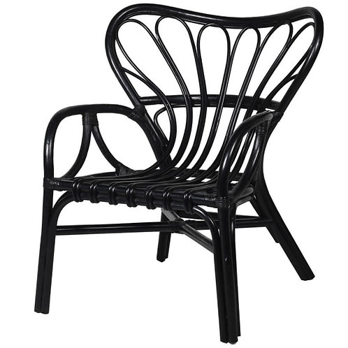 Black rattan butterfly back chair