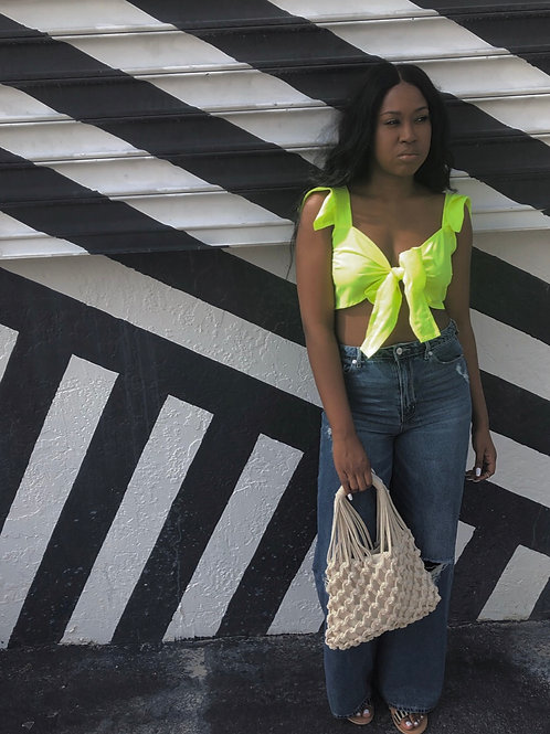 Lime Bow Crop Top