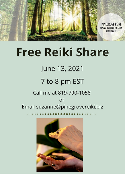 Monthly Free Reiki Share - June 13, 2021